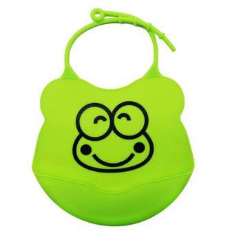 Слюнявчик силиконовый с карманом (зелёный)