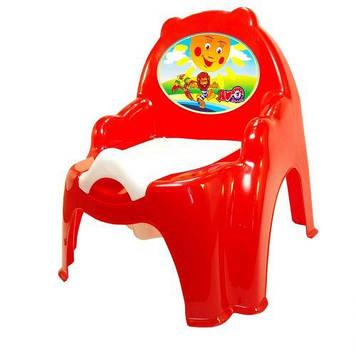 Детский горшок с крышкой красный