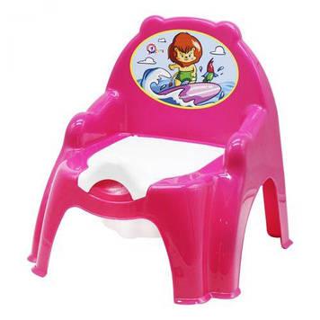 Детский горшок с крышкой розовый