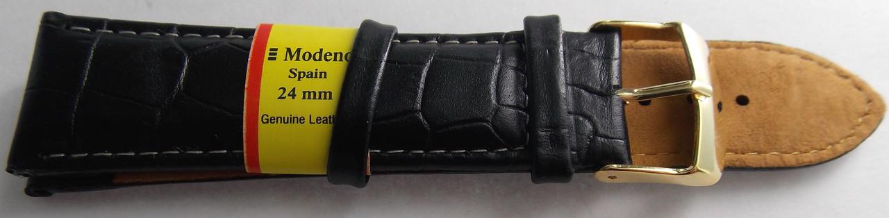 Ремешок кожаный MODENO (ИСПАНИЯ) 24 мм, черный бел.строчка