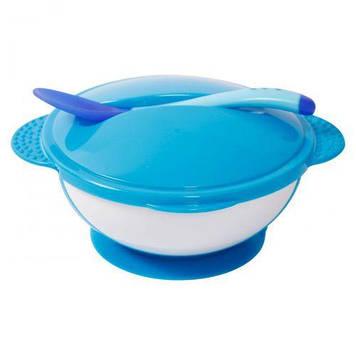 Тарелка на присоске с крышкой и ложкой, синий