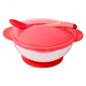 Тарелка на присоске с крышкой и ложкой, розовый