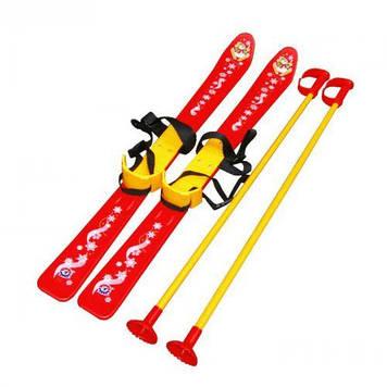 Лыжи с палками, детские, красные