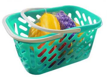 Корзинка бирюзовая с фруктами, 8 предметов