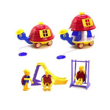 """Розсувна каталка """"Черепаха"""" з іграшками (червона)"""