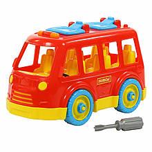 """Конструктор-транспорт POLESIE """"Автобус"""", 26 елементів в сіточці, червоний (71248-1)"""