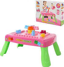 Конструктор і столик MOLTO-POLESIE рожевий, 20 елементів (58010)