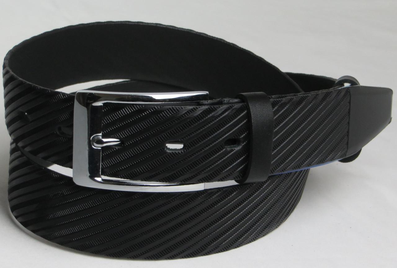 Брючный мужской кожаный ремень 2778 чёрный ДхШ: 111х3,5 см.