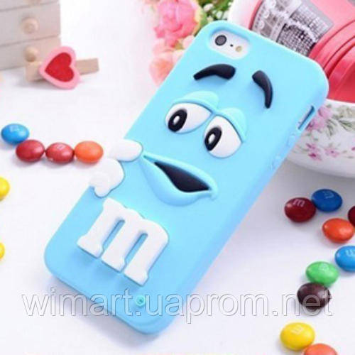 Чехол M&M's для Apple iPhone 4/4s голубой