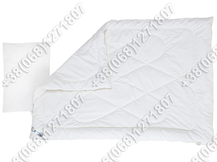 Комплект для новорожденных белый - силиконовое одеяло 105х140 и подушка 40х60, фото 2