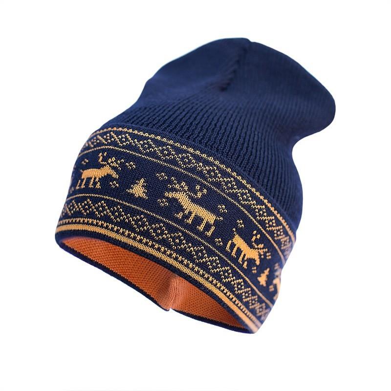 Шапка из шерсти мериноса София 411-18 44-48 см, синяя