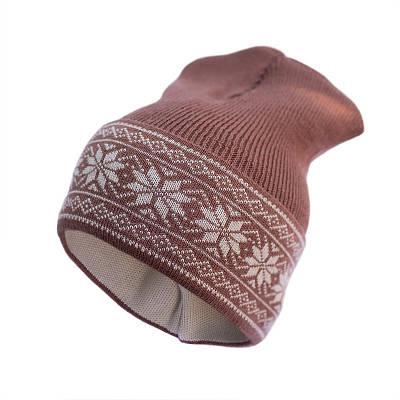Шапка из шерсти мериноса София 412-1 48-54 см, коричневая