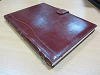 Ежедневник А4 натуральная кожа Вишневый с хлястиком для ручки
