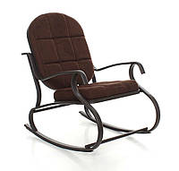 Кресло качалка, металлический каркас, темно-коричневое