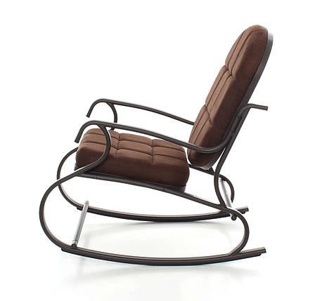 Кресло качалка, металлический каркас, темно-коричневое, фото 2