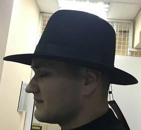 Фетровий чоловіча чорна капелюх поля 7 см розмір 57 58 чорна