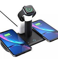 Беспроводная зарядка для iPhone, Apple Watch, Airpods, Samsung, Зарядная Док Станция, LED лампа 5 в 1