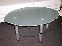 Журнальний скляний столик Еліпс-міні сатин