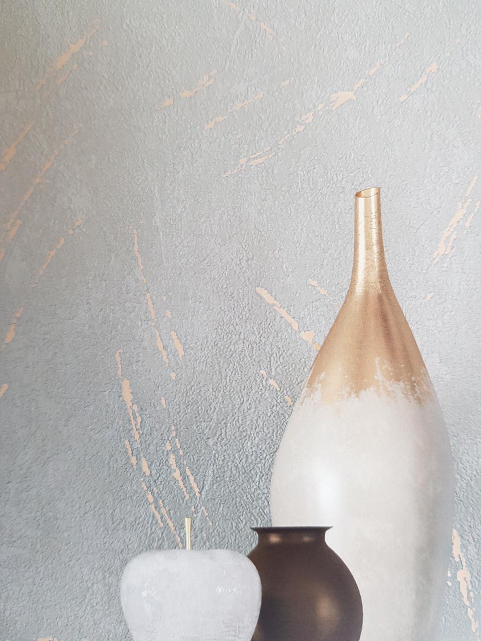 Обои метровые виниловые на флизелине Marburg Villa Romana абстракция под штукатурку темно серые с золотистым