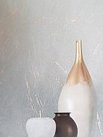 Обои метровые виниловые на флизелине Marburg Villa Romana абстракция под штукатурку темно серые с золотистым, фото 1