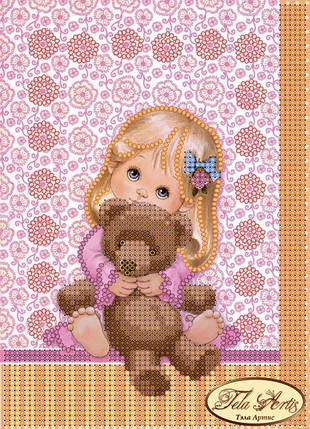 """Рисунок на ткани для вышивания бисером """"Любимая игрушка"""", фото 2"""