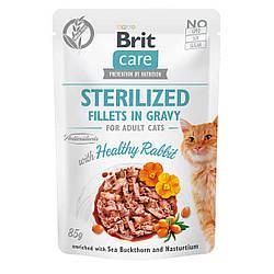 Вологий корм Brit Care пауч для котів філе в соусі кролик для стерилізованих 85 г