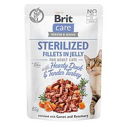 Вологий корм Brit Care пауч для котів філе в желе качка та індичка для стерилізованих 85 г