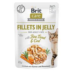 Вологий корм Brit Care пауч для котів філе в желе тріска і форель 85 г