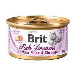 Вологий корм Brit Fish Dreams для котів куряче філе та креветки в бульоні 80 г