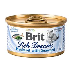 Вологий корм Brit Fish Dreams для котів скумбрія та водорості в бульоні 80 г