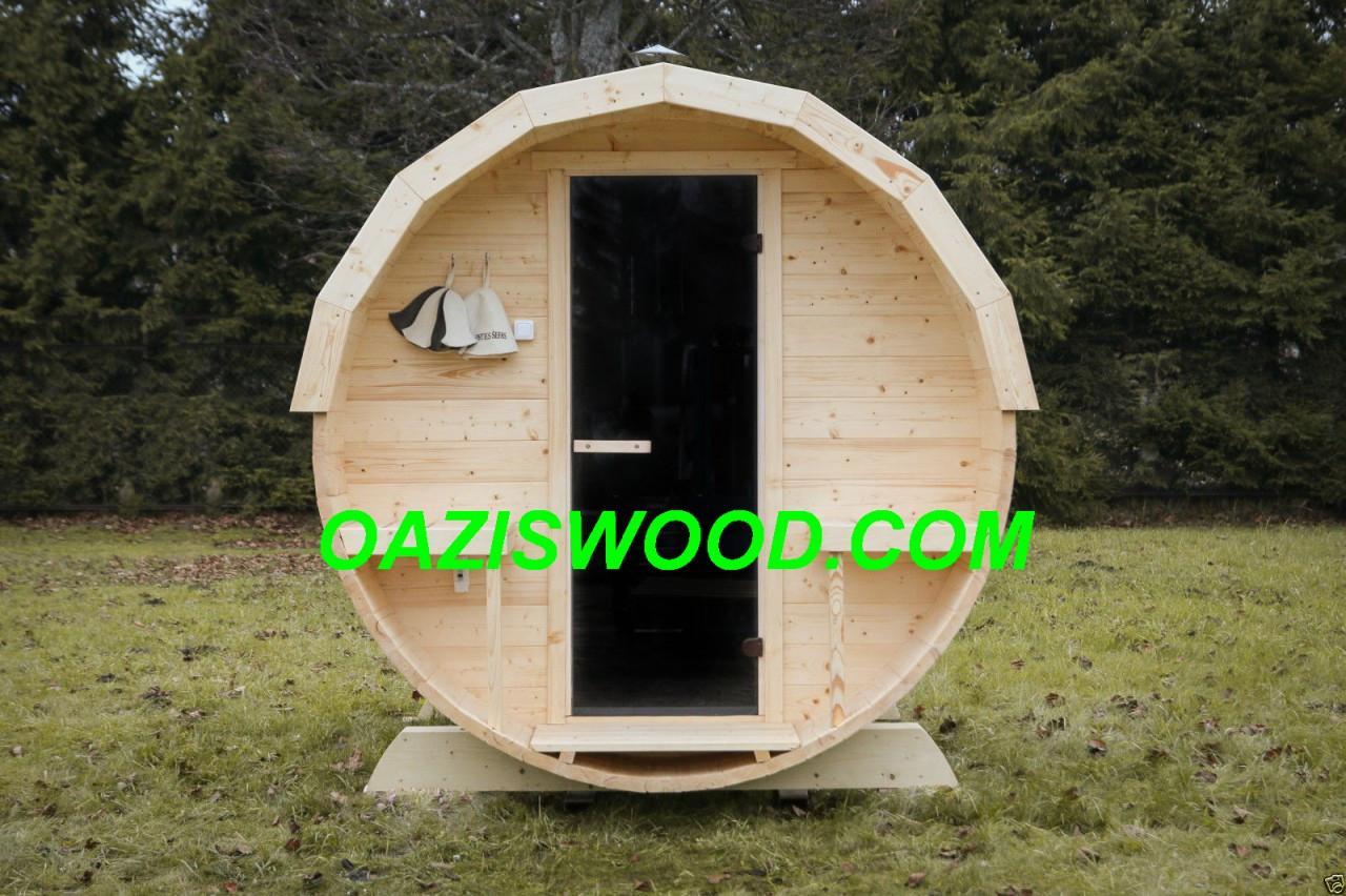 Сауна в бочке 2,7м с кровлей и электрокаменкой SAWO Nordex 6kw
