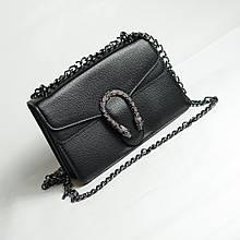 Сумочка клатч чорна жіноча підкова ультрамодна міні сумка маленька крос боді чорного кольору з ланцюжком