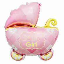 Фольгированный шар большая фигура Коляска Baby Girl 69х88см Китай
