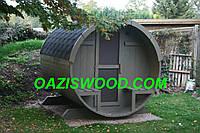 Баня в бочке 2,7м с кровлей и дровяной печкой