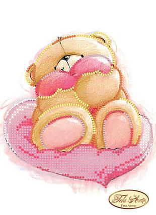 """Рисунок на ткани для вышивания бисером """"Медвежонок с сердечком"""", фото 2"""