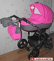 Коляска Adamex Galactic 522G розовый завитушки-графит, фото 1