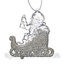 """Ёлочная игрушка """"Серебряный Дед Мороз на санях"""""""