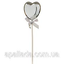Топпер на палочке в форме сердца серебро