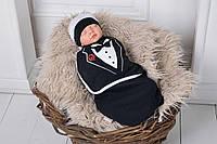 Пеленка- кокон на липучках с шапочкой, Джентльмен, 0-3 мес.