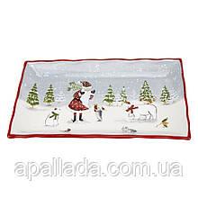 """Блюдо прямоугольное """"Дед Мороз в лесу"""""""