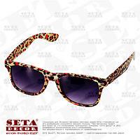 Очки Леопардовые солнцезащитные с чёрными стёклами, карнавальные