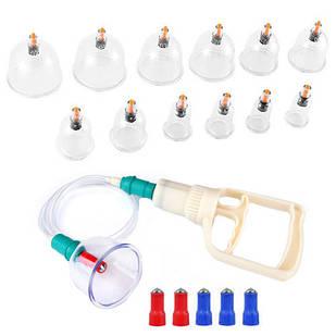 Набір з 12 вакуумних банок для масажу, насос, шланг, накінечники, пластик