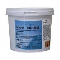 Средство для дезинфекции воды бассейна хлор шок Freshpool, 5 кг (в таблетках по 20 гр), фото 1