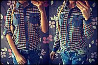 """Рубашка женская из коттона """"Вставки джинс"""""""