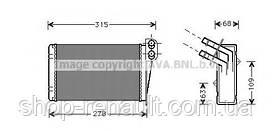 Радіатор отопітеля салону (грубки) CLIO II/Symbol/Thalia AVA QUALITY COOLING, RT6228