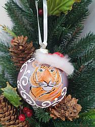 """Ялинкова кулька """"Тигр"""" Символ року. Ручна робота (розпис) Скло 65мл"""