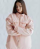 Куртка-рубашка на кнопках персик