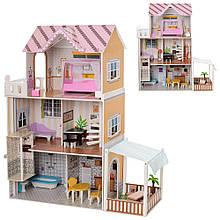 Трехэтажный, деревянный домик для кукол Барби с мебелью и лифтом MD 2150 (5 комнат, 2 террасы)