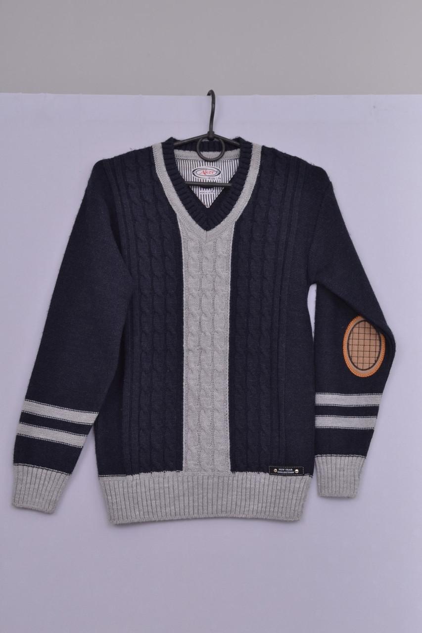 Л-49 Джемпер для мальчика, бомбер, кофта, свитер, реглан темно-синий, 152