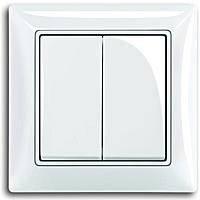 Вимикач 2-й кл, прохідний, білий колір, Basic55